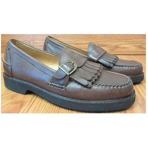 Sz 9.5 ORVIS Mens LEATHER BUCKLE LOAFERS BROWN